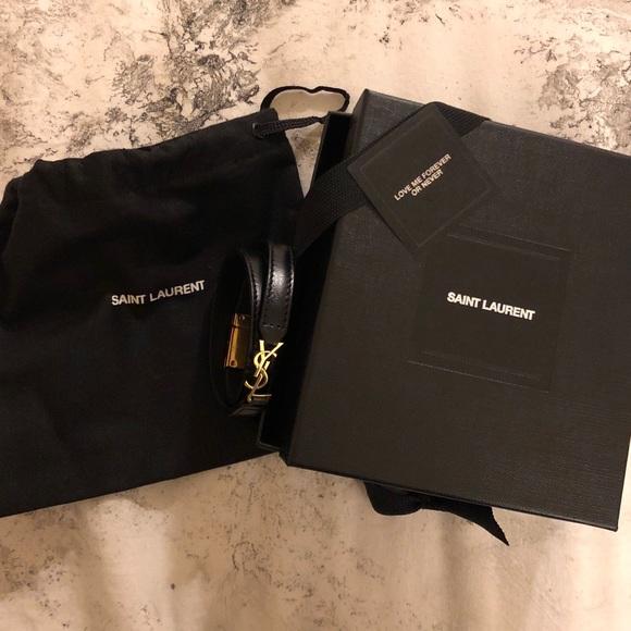38703b880b Saint Laurent Leather Double Wrap Bracelet YSL
